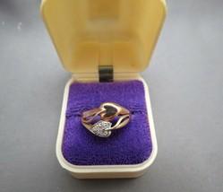VTG 10K Plum Diamond Rose Gold Ring Size 6.5 Leaf Heart 3.17 Grams Tri C... - $128.69