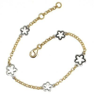 Bracelet Yellow White Gold 18K 750, Flowers, Daisies, 16.5 cm, Made in Italy