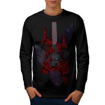 Bass Guitar Roses Music Tee Music Style Men Long Sleeve T-shirt - $14.99