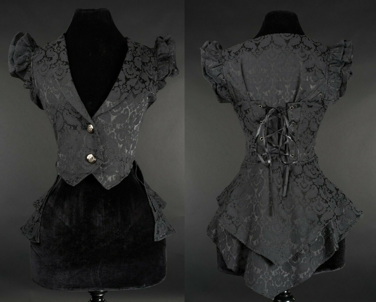 Primary image for Black Brocade Victorian Gothic Corset Back Vest Steampunk Frilly Waistcoat