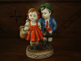 Vintage German Boy and Girl w Flower Basket Porcelain Figurine Hand Painted - $86.85