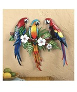 Three Tropical Parrots Resting On Branch Wall Art (col) J16 - $197.99