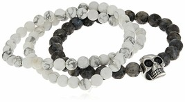Trois Simulé Marbre Blanc & Noir Lave Perlé Acier Inoxydable Crâne Bracelets