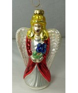 """Hand Blown Glass ANGEL Christmas Ornament in Wood Crate Storage Box 6"""" Tall - $19.34"""