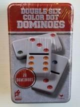 Double Six 6 Dominoes 28 Color Dot Cardinal Classic Games Metal Tin Brand New - $19.68