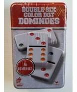 Double Six 6 Dominoes 28 Color Dot Cardinal Classic Games Metal Tin Bran... - $19.68