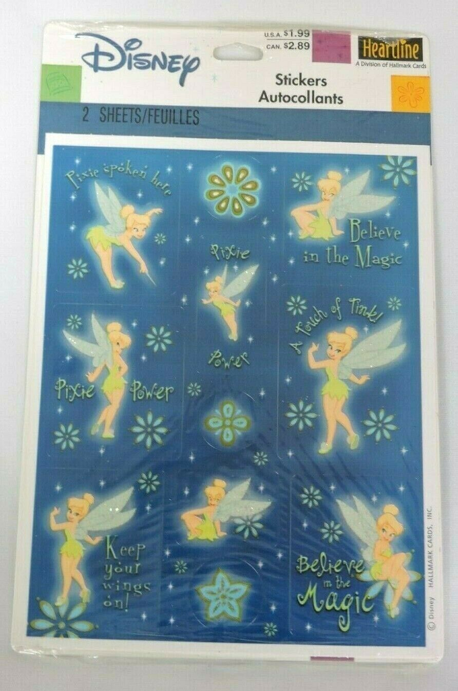 Brand New Vintage Hallmark Disney Tinker Bell Stickers Decorations Party Favors