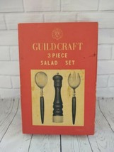 Vintage Guildcraft 3 Piece Salad  Set Forged Ebony Rosewood Stainless steel - $125.77