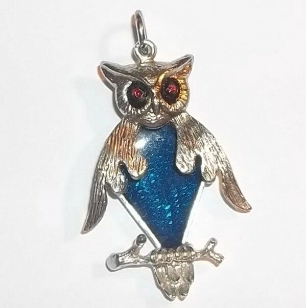 Vintage Owl Blue Enamel Silvertone Owl Necklace Pendant w/Movable Jointed Body