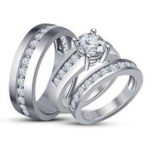 White Gold Finish Diamond Wedding Trio His Her Bridal Band Engagement Ri... - $149.98