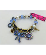 BETSEY JOHNSON Blue Rhinestone Glass Stretch CHARM Bracelet - NWT -FREE SHIPPING - $39.50