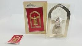 Hallmark Keepsake Christmas Ornament Glad Tidings Angel & Stand 2003 wit... - $8.68