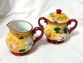 Oneida Kitchen Sunset Bouquet Ceramic Covered Sugar and Creamer Set - $29.69