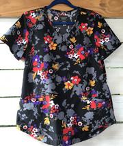 Cherokee Wm. M Scrub Top Black Red Purple Floral Nursing Uniform Vet V-N... - $19.57