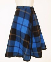 Vintage Pendleton Plaid Wool Skirt Wrap XS 0 00 Blue Black Tartan USA - $23.99