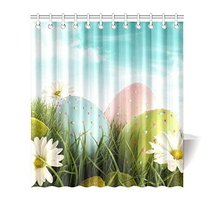 InterestPrint Happy Easter Decoration Easter Eggs with Daisies Waterproo... - $33.65