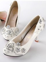 mid heel wedding shoes,ivory swarovski shoes,women kitten heel bridal shoes - £30.95 GBP