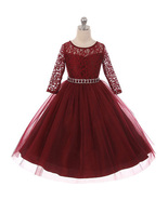 Burgundy Long Sleeve Stretchy Lace Bodice Tulle Skirt with Belt Girl Dress - $39.99+