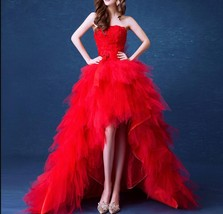 New Arrival Red Tulle High Low Wedding Dress Sweet 16 Prom Gowns A Line 2019 - $75.00