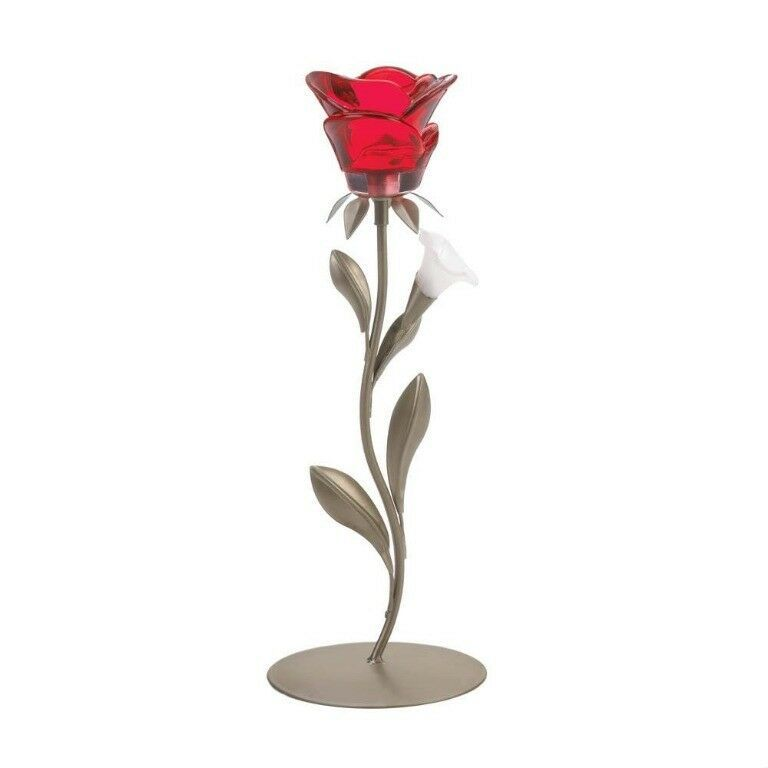Lot of 15 Romantic Single Red Rose on Leafy Stem Tealight Candle Holders
