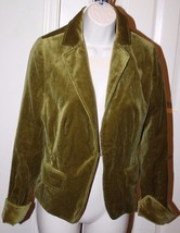 J.Crew Women's Olive Green Velveteen Jacket Blazer Size 8 Cuffs Lined Cotton - $69.99
