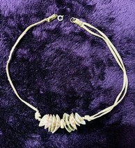 Vintage Sea Shell Silk Cord Choker Necklace Hippie Boho Surfer Style Pre-owned - $6.44