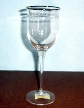 Lenox Pearl Platinum Crystal Wine Glass Frosted Dot & Star Border #61271... - $18.90