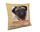 Pug Throw Pillow A Home Without is Just a House Dog New Fawn Yellow Beige Paw