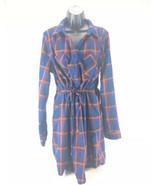 Skies Are Blue Women's Long Sleeve Plaid Flannel Dress Stitch Fix Blue O... - $22.76
