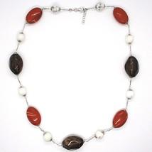Silver necklace 925, Jasper, Howlite, Smoky Quartz, Oval Chain image 2
