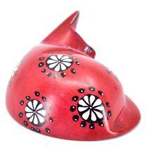 Tabaka Chigware Hand Carved Kisii Soapstone Red w Flower Sleeping Cat Figure image 4
