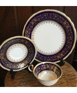 Rare Old Aynsley Seville Colbalt Blue Gold Dragon Phoenix 3 pc Teacup Se... - $449.99