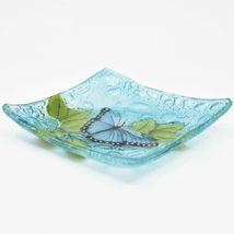 Fused Art Glass Blue Morpho Butterfly Design Square Soap Dish Handmade Ecuador image 3