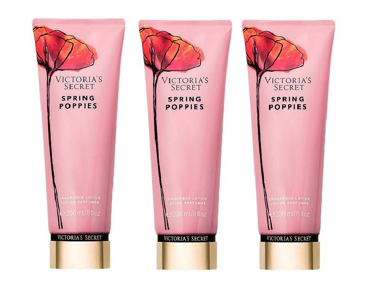 victoria's secret spring poppies fragrance lotion 8 oz - x3