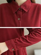 Maternity Dress Solid Color Long Sleeve Shirt Dress image 4