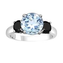 Aquamarine Three-Stone Engagement Ring 14k White Gold  2.60 Carat Unique - $2,350.00