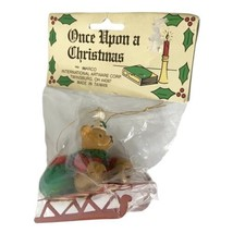 Once Upon a Christmas Vintage 3 Inch Christmas Bear on Sled Ornament Inarco - $12.19