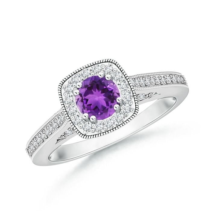 0.73tcw Round Natural Amethyst Cushion Halo Ring with Milgrain in Gold/Platinum