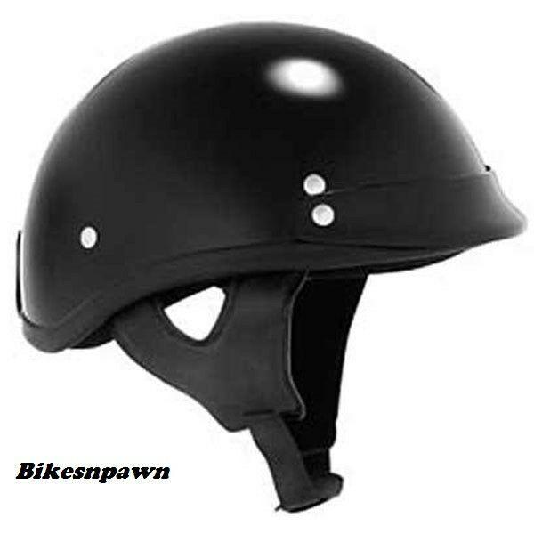 New 2XL Skid Lid Traditional Gloss Black 1/2 Helmet DOT