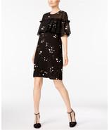$99.5  Alfani Printed Ruffle Cape Dress Black Art Spots 10 - $73.15