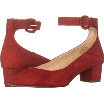 Nine West Brianyah Low-Heel Ankle Strap Pumps 276, Red, 6.5 US - $30.52
