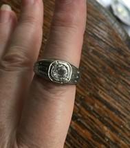 Antique Deco White GF Gold Filled Signet Ring  1.1 CT Paste Unisex Size 8.5 - $89.99