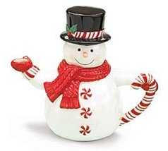 Burton Peppermint Snowman Ceramic Teapot - $35.00