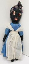 "Vintage Black Americana Doll 12"" Painted Face Cloth Rag Doll Folk Art  - $39.95"