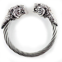 Double Tiger Head Sterling Silver Bracelet - $485.80