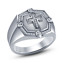 """Round Cut Diamond 14k White Gold Plated 925 Sterling Silver Men's """"Cross"""" Ring - $81.99"""