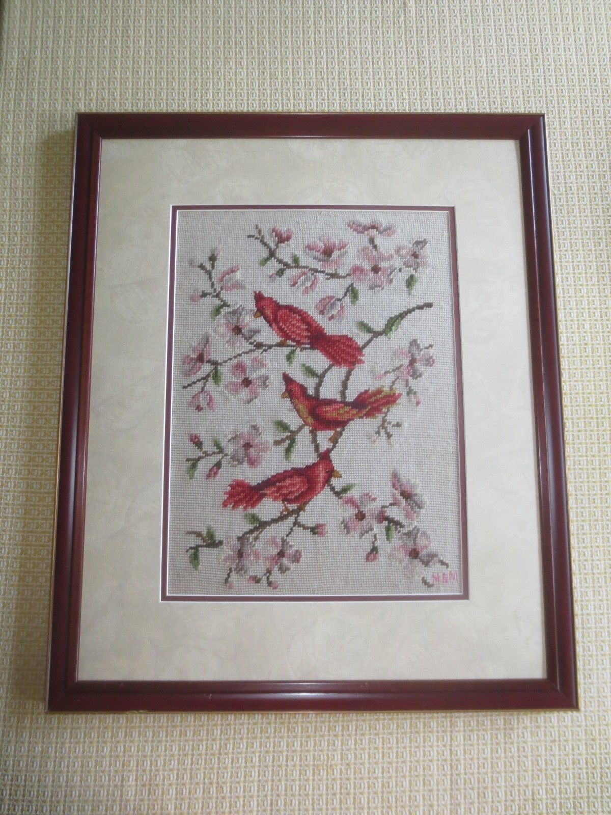 Framed CARDINALS ON DOGWOOD BRANCHES NEEDLEPOINT/PETIT POINT Wall Hanging