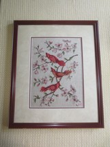 Framed CARDINALS ON DOGWOOD BRANCHES NEEDLEPOINT/PETIT POINT Wall Hanging  - $24.75