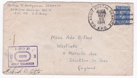 WORLD WAR II EXAMINED MAIL APO 143 ARMY POSTAL SERVICE MAY 21 1944 - $2.98