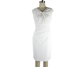 LAUREN RALPH LAUREN Knot-front Ruched Matte Jersey Sheath Dress, White N... - $46.08
